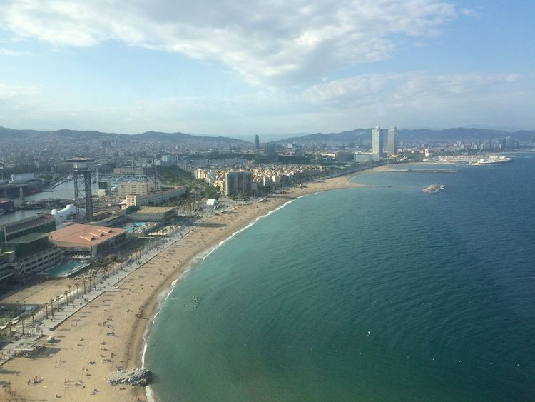 Barcelona beach from the top Aerial View Beach Calm Coastline Community Composition Distant Horizon Over Water Human Settlement Leading Ocean Outdoors Perspective Residential District Rippled Sand Scenics Sea Shore Top Perspective Tranquil Scene Vacations Water Waterfront