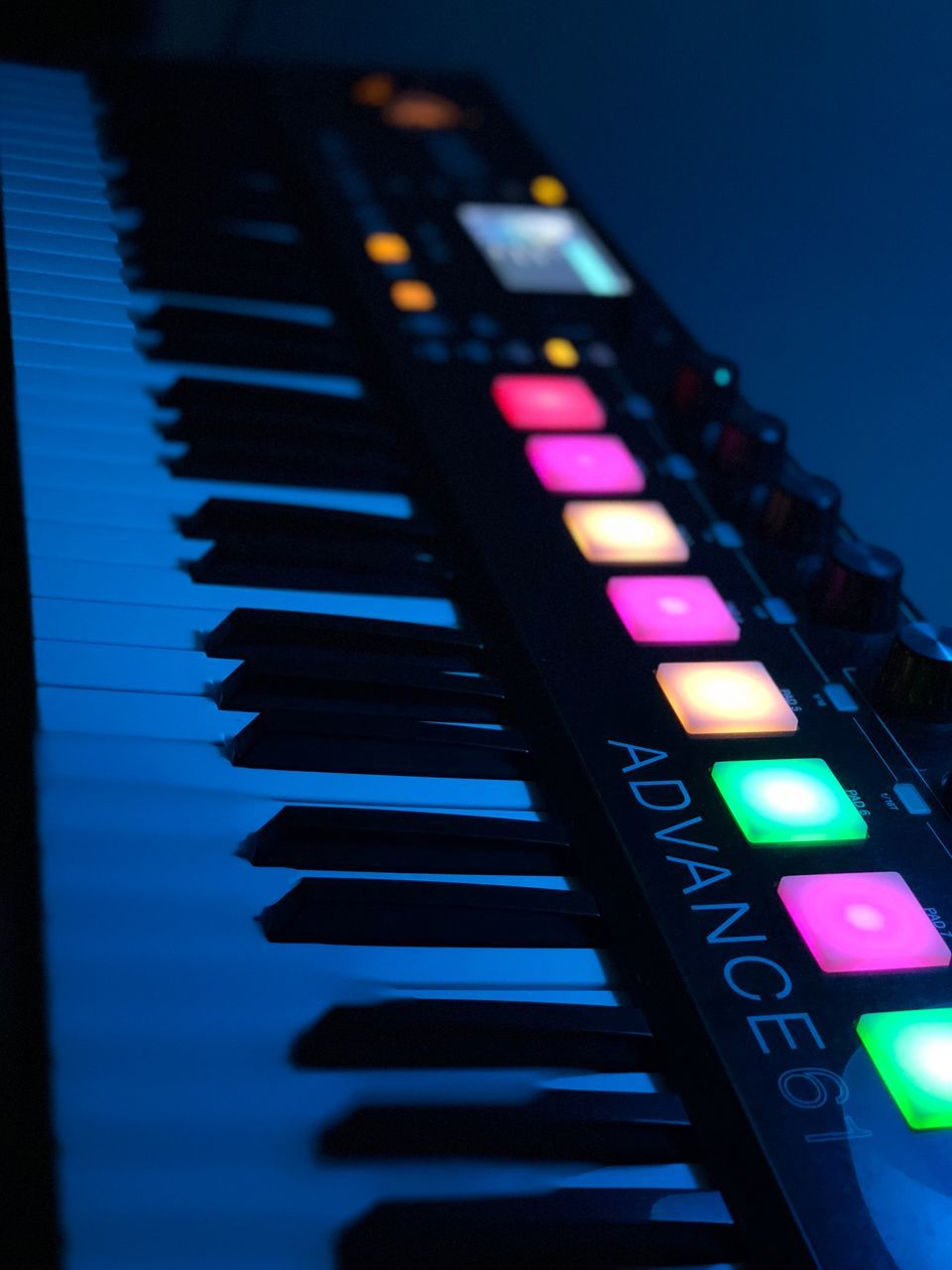 music, arts culture and entertainment, close-up, no people, musical equipment, musical instrument, indoors, piano, piano key, selective focus, illuminated, in a row, technology, keyboard, focus on foreground, multi colored, communication, reflection, blue, pink color, keyboard instrument
