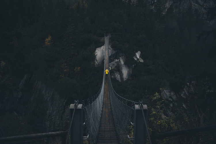 Rear view of man walking on rope bridge