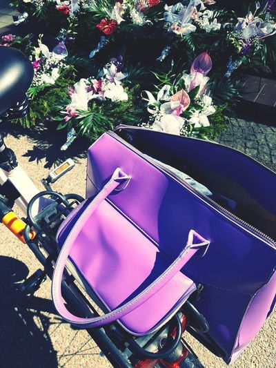Lady's bike High Angle View Flower Day Outdoors Summer Nature Bicycle Trip Bicycle Bag Purple Bag Bicycle Girl Girl's Bike Bike Shopping Bicycle Stand Damka The Street Photographer - 2017 EyeEm Awards
