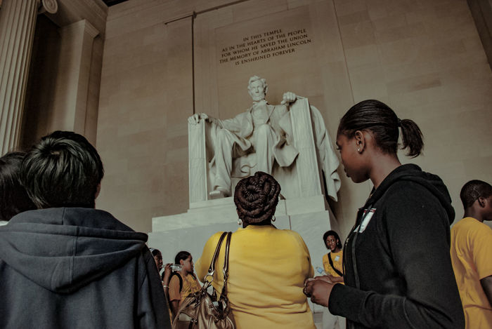 Abraham Lincoln Statue Casual Clothing Day People Real People Rear View Standing Statue Togetherness