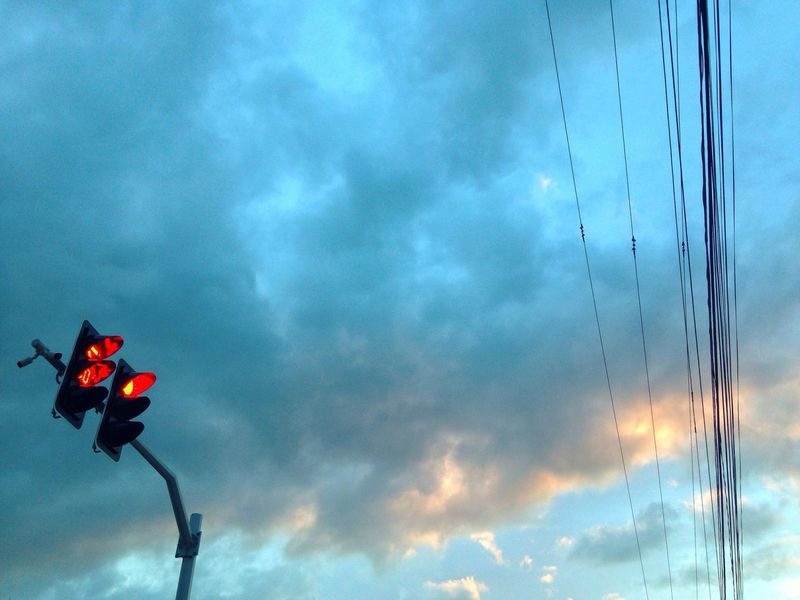 Power Line  Low Angle View Clouds And Sky Colorful Sky Nature Traffic Lights Minimalism No People Eyeem Philippines Mobile Photography Iphoneonly IMography Outdoors Sunset