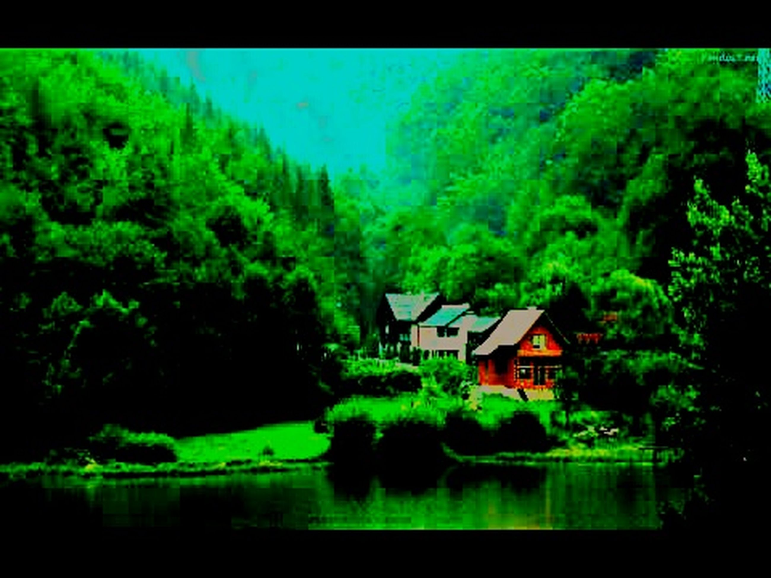 tree, water, architecture, built structure, building exterior, house, green color, waterfront, transfer print, reflection, auto post production filter, tranquil scene, lake, nature, lush foliage, growth, tranquility, beauty in nature, scenics, river