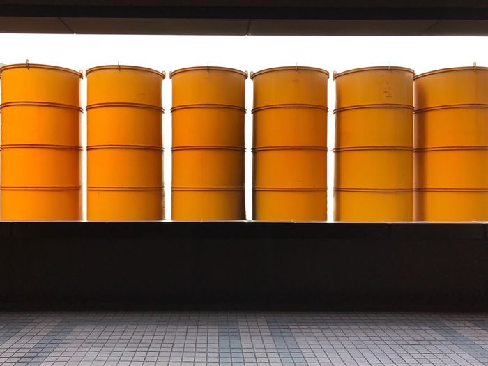 Yellow Silos At Factory