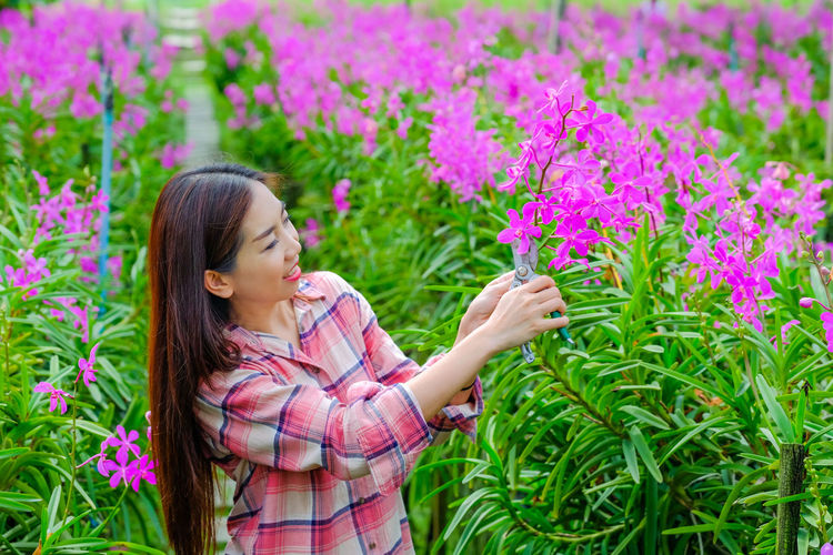 Low angle view of woman with pink flowering plants