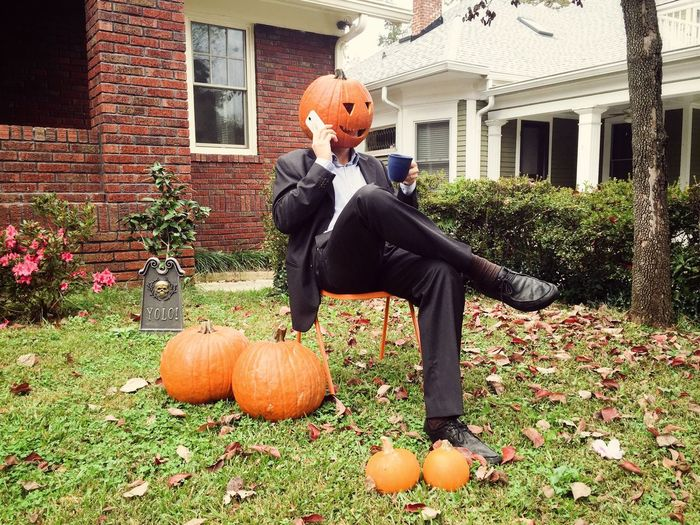 View of pumpkins in garden during autumn