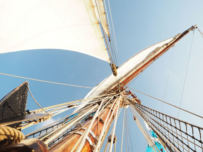 Clear Sky Low Angle View Mast Nautical Vessel Outdoors Pole Rigging Rope Sailboat Sailing Sailing Ship Sky Travel Yacht Yachting
