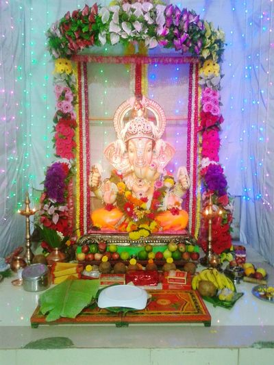 Ganpati bappa morya. Hindu God Religion Religion Tradition Indoors  Human Representation Spirituality Celebration Art And Craft Multi Colored Art Wall - Building Feature Cultures Hindu God Decoration Place Of Worship Travel Destinations Religious Celebration Flower Christmas Ornament Bouquet Famous Place First Eyeem Photo