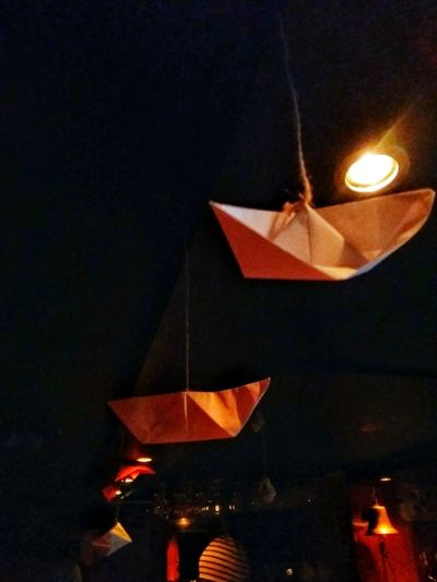 bar decorations Bar Lights And Shadows Silhouette Nightlife Illuminated Flame Celebration Candle Hanging Origami Paper Boat