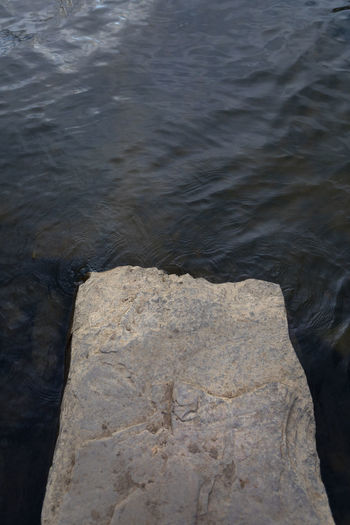 Close-up of rock in lake