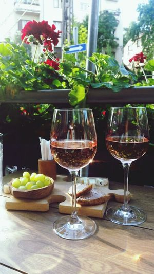 Grapes & Wine Wine Grapes Wineglasses Sunny Day Table For Two Food And Drink Rosé