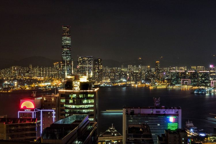 Night view from central. Night Illuminated Victoria Harbour Central HongKong City Architecture Urban Skyline Skyscrapers Rooftop Nightphotography City Lights Highrise