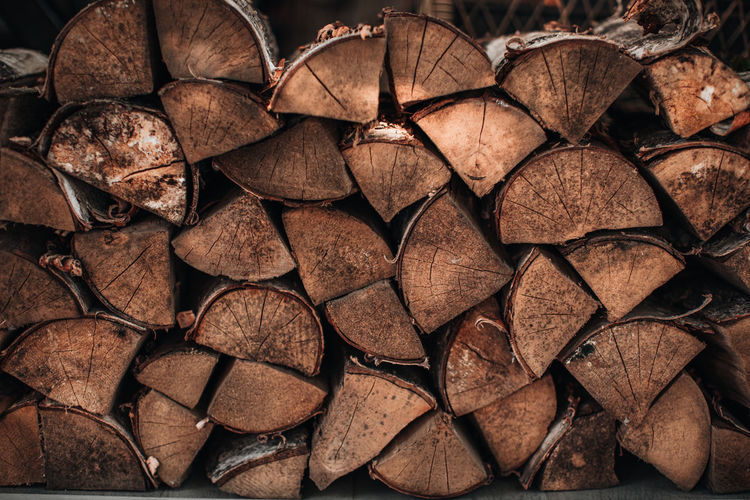 Close-up detail of chopped logs of a tree tied with a rope. background with natural texture.