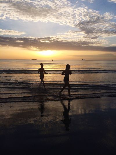 Sunset Sea Beach Two People Real People Water Boys Sky Full Length Sand Togetherness Son Leisure Activity Bonding Outdoors Nature Beauty In Nature Scenics Horizon Over Water Silhouette Albania Visitalbania
