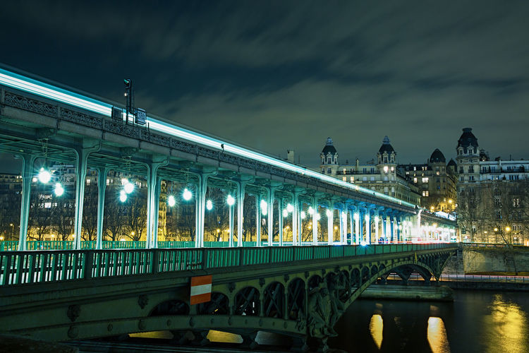 Bir-Hakeim station in Paris with subway at night ! Architecture Bir-hakeim  Bridge - Man Made Structure Car City City Gate City Street Cityscape Dusk France Illuminated La Seine Light Trail Lighting Equipment Long Exposure Night No People Outdoors Paris Neighborhood Map Sky Subway The City Light Traffic Transportation The Great Outdoors - 2017 EyeEm Awards Your Ticket To Europe Mobility In Mega Cities