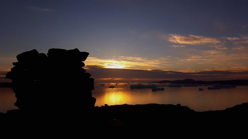 Sunset Silhouette Greenland Nature Rocks And Sky Rocksonrocks Beauty In Nature Nature Photography Outdoors Sky Colours Of The Sky Colourful Sky Innaarsuit Amazing View Sky And Clouds Sea Icebergs