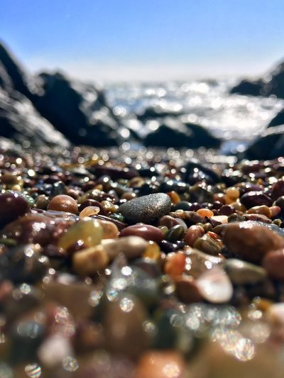 """""""As in nature, as in art, so in grace; it is rough treatment that gives souls, as well as stones, their luster."""" The Great Outdoors - 2018 EyeEm Awards Sunset Outdoors Beach Taking Photos Selective Focus Water Nature Sky No People Day Close-up Sunlight Outdoors Land Beauty In Nature Wet Tranquility Sea Beach Pebble The Creative - 2018 EyeEm Awards"""