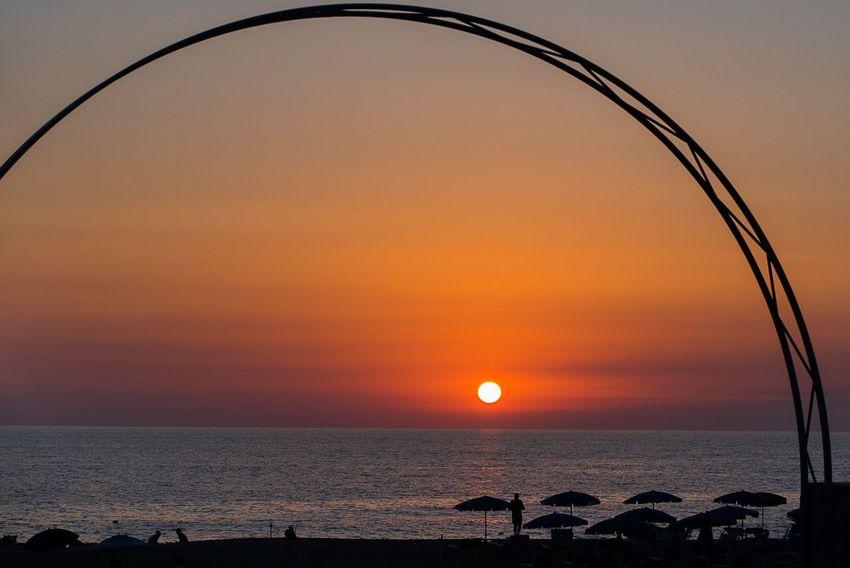 Sunset Sea Sky Water Scenics - Nature Orange Color Horizon Over Water