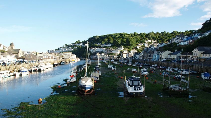 Looe Cornwall Cornish Coast Estuary River Mouth Harbour Fishing Boat Fishing Village Boats Docks River Water Shadow and Light Summer Blue Sky