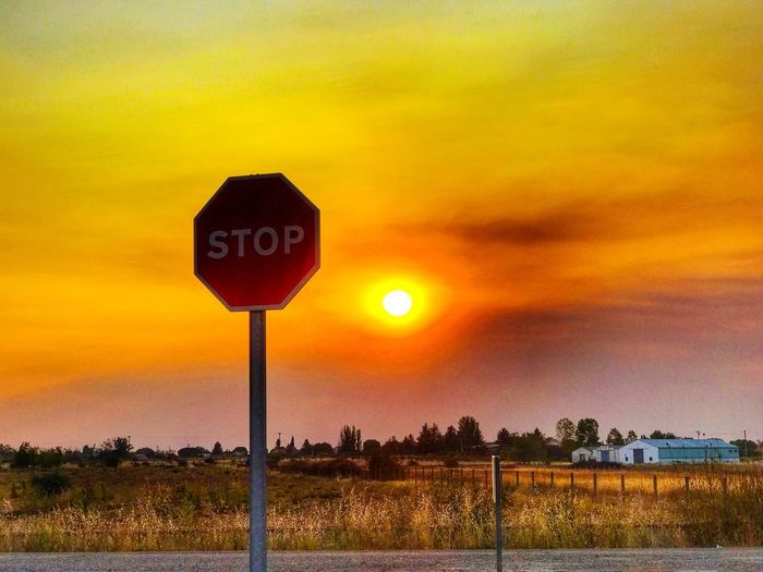 Sunset HDR Beauty In Nature Nature Communication Sunlight Rural Scene Stop Stop Sign Sign Signboard Rural Life Road Traffic Traffic Sign Sunset_collection Transportation Field Landscape Outdoors Tranquility Scenics Sun No People Road Sign