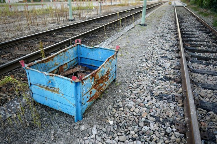 wherever I place my blue bed... Bed Industrial Landscapes Railroad Tracks Blue Box Metal Things Still Life