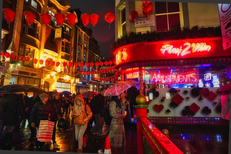 Night Illuminated Group Of People City Built Structure Building Exterior Real People Architecture Large Group Of People Crowd City Life Street Neon Women Men Adult Text Lighting Equipment Outdoors Nightlife Chinatown London