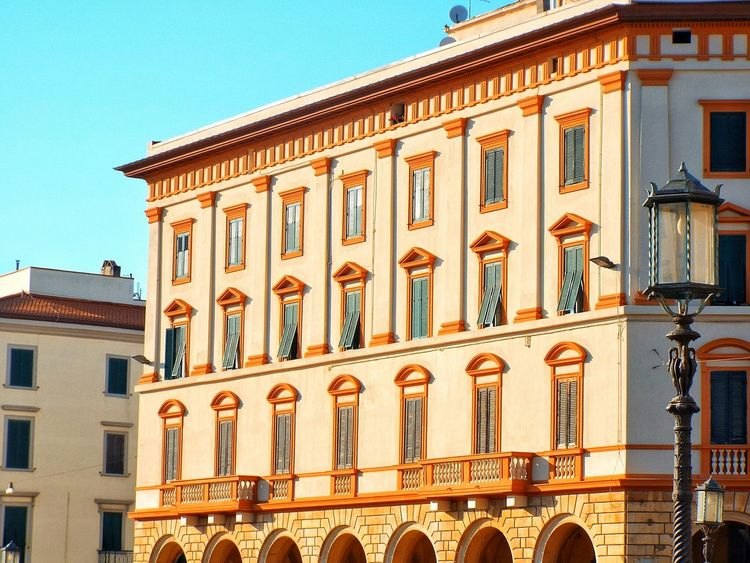 Architecture Building Exterior Built Structure Arch Window Low Angle View Travel Destinations History Façade Outdoors Day No People Architectural Column City Sky Close-up Architecture Building Exterior Building Façade Buildings Architecture City Leghorn Palazzo Windows
