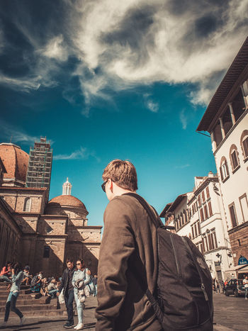 Follow me #Basilica #Florence #cathedral #italy #sanlorenzo #travel Adult Architecture Building Exterior Built Structure Casual Clothing City City Life Cloud - Sky Day Lifestyles Low Angle View Men Outdoors People Place Of Worship Real People Rear View Sky Travel Destinations