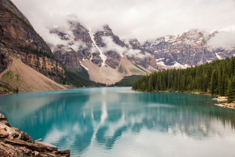 Banff  Banff National Park  Beauty In Nature Blue Blue Water Cold Temperature Day Idyllic Lake Landscape Mountain Mountain Range Nature No People Outdoors Reflection Scenics Sky Snow Snowcapped Mountain Tranquil Scene Tranquility Tree Water