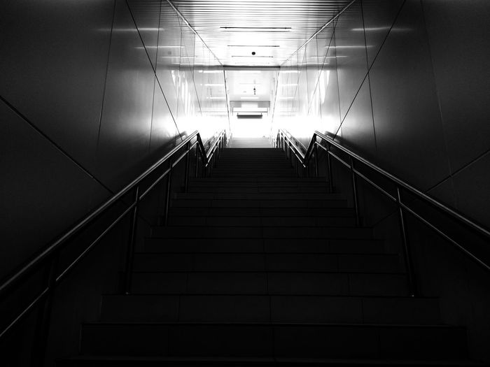 Steps And Staircases Steps Staircase Railing Architecture Built Structure Subway Stairway Underpass Subway Station Underground Walkway Underground Ceiling Light  Stairs Hand Rail Emergency Exit Exit Sign