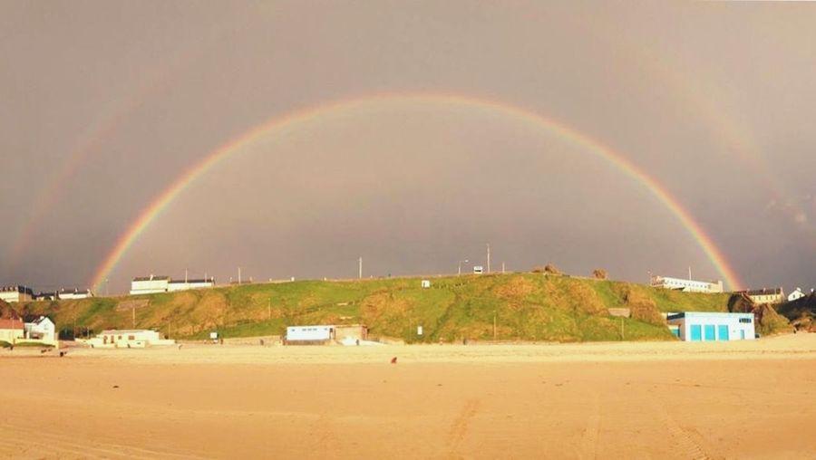 Rainbow over landscape