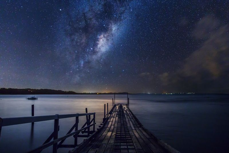 Fine Art Photography Capture this perfect moment on a boat ramp when milkyway rise from horizon. Hanging Out Non-urban Scene Check This Out EyeEm Melbourne Tranquility Landscape Australian Landscape Long Exposure Beauty In Nature Australia Nightphotography Mornington Peninsula Melbourne The Secret Spaces