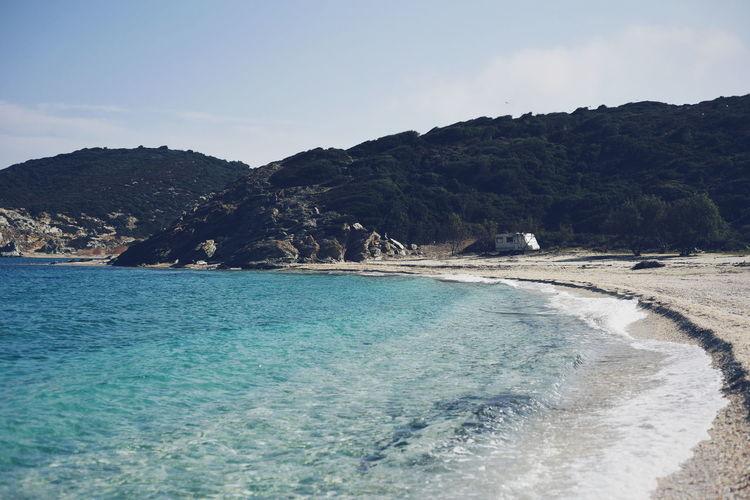 Calm Beach Island Greece GREECE ♥♥ Greece Island Evia Island Greece Blue Water Turquoise Colored Turquoise Turquoise Water Mountain Forest Coast Coastline Outdoors Outdoor Photography Van
