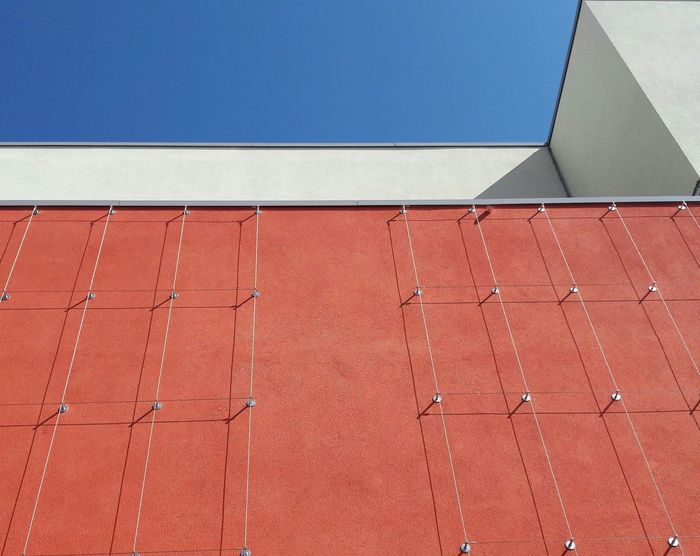3. Built Structure Architecture Architectural Detail Modern Architecture Urban Geometry Building Exterior Day No People Red Façade Facade Colours Facade Detail Urban Geometry. Looking Up Trellis Weir Copy Space Outdoors Pattern Architecturephotography Metal Lowangleview Shadows Shadow And Light The Architect - 2017 EyeEm Awards The Graphic City