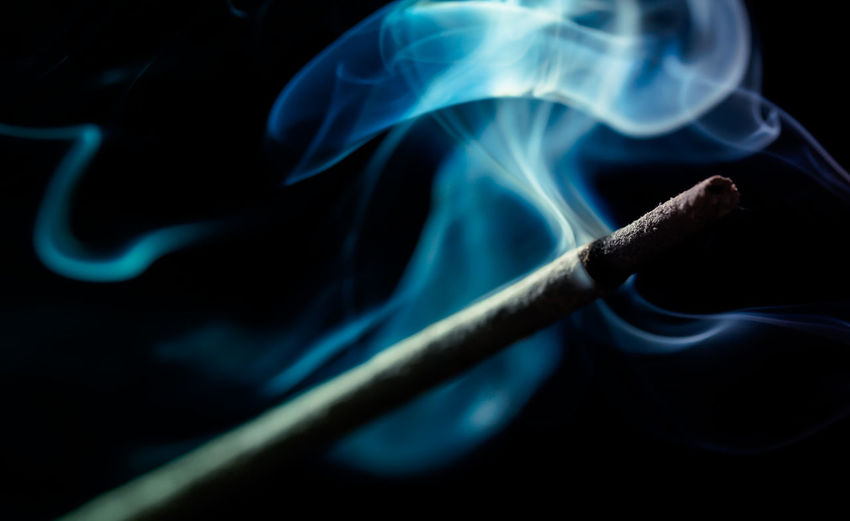 Abstract Black Background Blue Close-up Dark Detail Illuminated Incense Sticks Light Macro No People Smoke