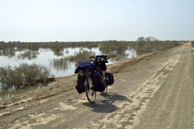 Cycling across the national park Oiseaux de Djoudj National Park in Mauritania. Bicycle Trip Oiseaux De Djoudj Oiseaux De Djoudj National Park Sahara Desert West Africa Adventure Africa Barren Barren Landscape Bicycle Day Landscape Mauritania Outdoors Riding Road Sahara