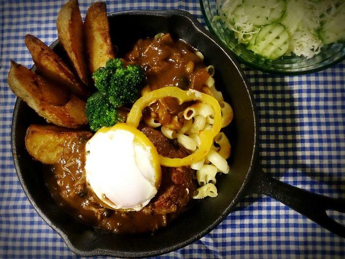 *うちのごはん*Showcase: November Enjoying Life My Life Love Hamburg Demiglace Macaroni Fried Potatoes Paprika Egg Darling Cook