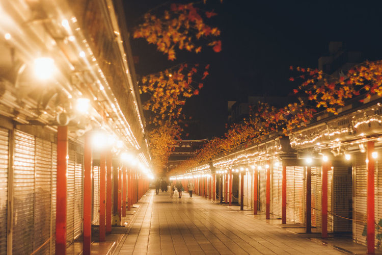Golden Shimmer Japan Lovers vanishing point Perspective Japanese Culture Temple Japan Night Lights Shrine Tokyo Tourist Travel Worship Architecture Asakusa Atmospheric Mood Built Structure Electricity  Illuminated Indoors  Lighting Equipment Night Night View No People People Sensoji The Way Forward Tourism Travel Destinations Stories From The City The Street Photographer - 2018 EyeEm Awards The Architect - 2018 EyeEm Awards HUAWEI Photo Award: After Dark