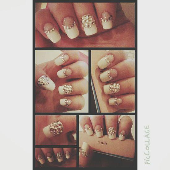 My new white mani .. Manicure Mani Nailart  Naildesign Nailswag Nailsoftheday Hot Nailrock Svarovski Swag