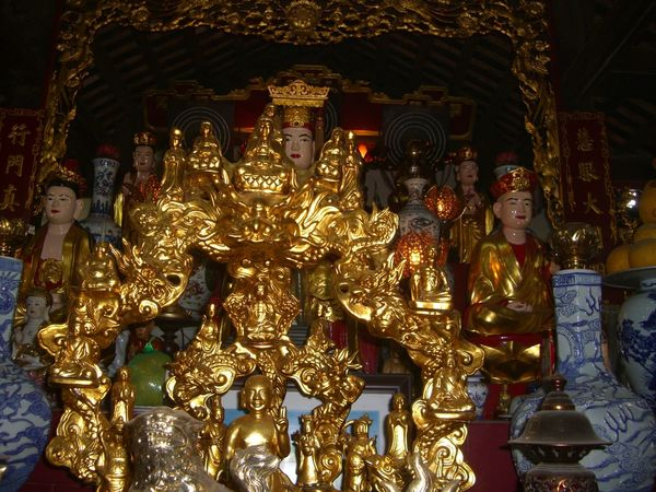 Golden Deity Interior of One Pillar Pagoda Composition Deity Full Frame Golden Hanoi Indoor Photography Inside No People One Pillar Pagoda Pagoda Prayer Religion Tourist Attraction  Vietnam