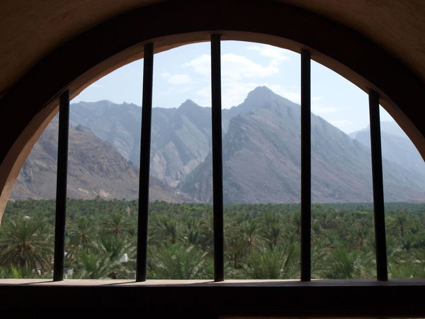 Bars Beauty In Nature Date Palms Landscape Mountain Mountain Range Palm Trees Scenics Tranquil Scene Window