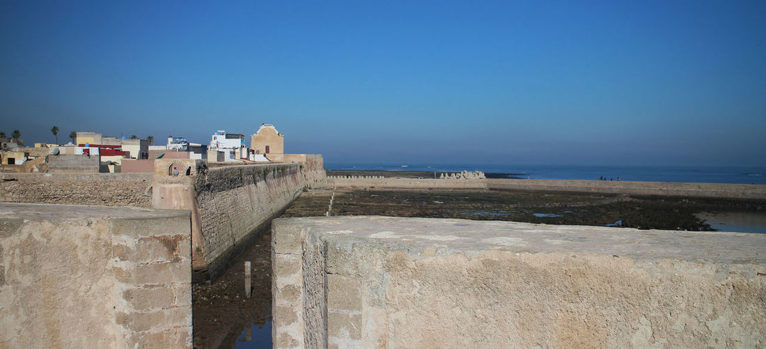 El Jadida Architecture Building Exterior Built Structure Clear Sky Day Horizon Over Water Nature No People Outdoors Portugese Settlement Sea Sky Walls Water