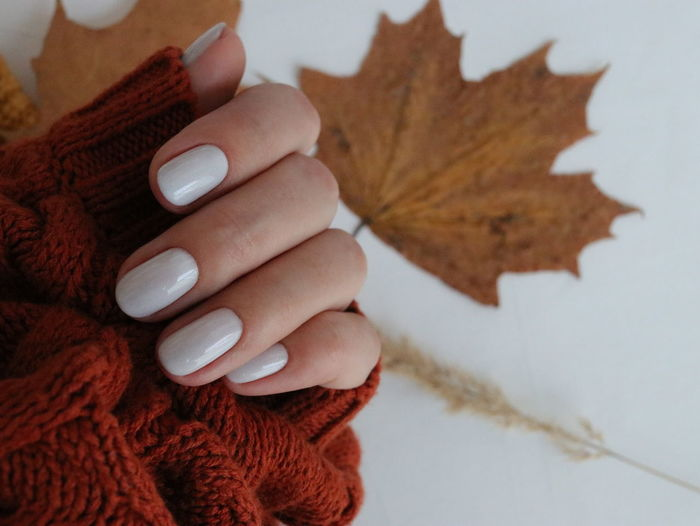Close-up of hand holding maple leaf during winter