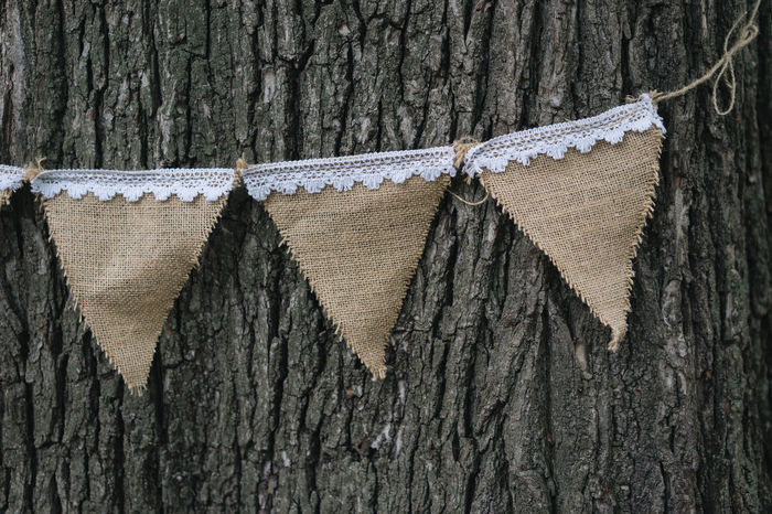 Rustic Hessian Wedding Decoration Bunting Flags. Party Decoration Party Decorations Rustic Wedding Wedding Details Bunting Bunting Flags Close-up Day Decorations Flags Hanging Hessian Lace Lace - Textile No People Outdoors Party Rustic Style Textured  Tree Tree Trunk Wedding Decoration Wedding Decorations Wood - Material