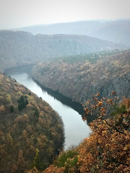 Vltava River Scenics - Nature Beauty In Nature Water Tree Tranquil Scene Tranquility Autumn Mood High Angle View Nature Idyllic Outdoors Forest Environment Day Land Mountain Sky No People Non-urban Scene Plant
