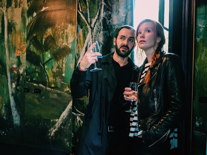 Wine Moments Two People Smoking - Activity Men Heterosexual Couple Adults Only Reflection Love Adult Young Adult Beard Women Togetherness Lifestyles Indoors  People Alcohol Friendship Young Women Berlucchi Milano Italy Happy Hour Wine