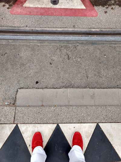 Red white black : Stand still before crossing the tracks Bahngleise Gleise Growth Schuhe  Straßenbahn Waiting Body Part Crossing High Angle View Low Section One Person Outdoors Personal Perspective Red White Red White Black Rot Shoe Shoes Standing Stone Stop Track Tracks Unrecognizable Person Weiss EyeEmNewHere