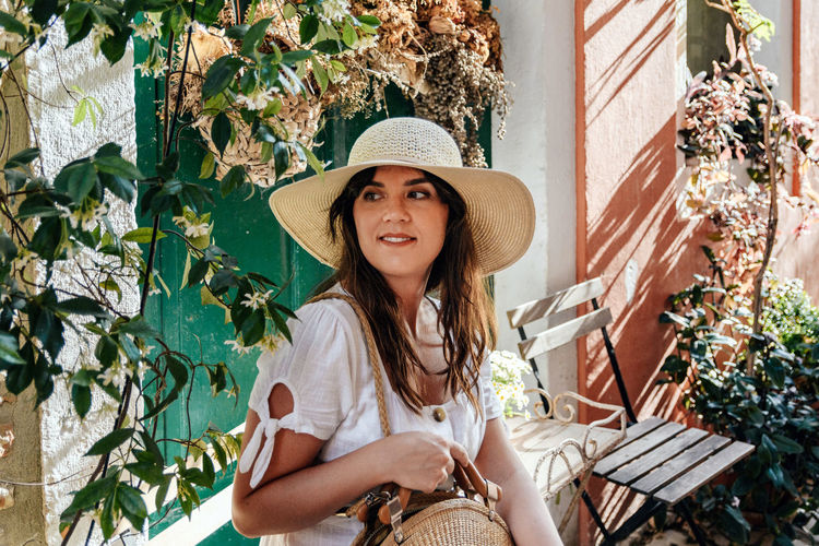 Portrait of a young woman in a picturesque old town. street, outdoors, fashion, summer.