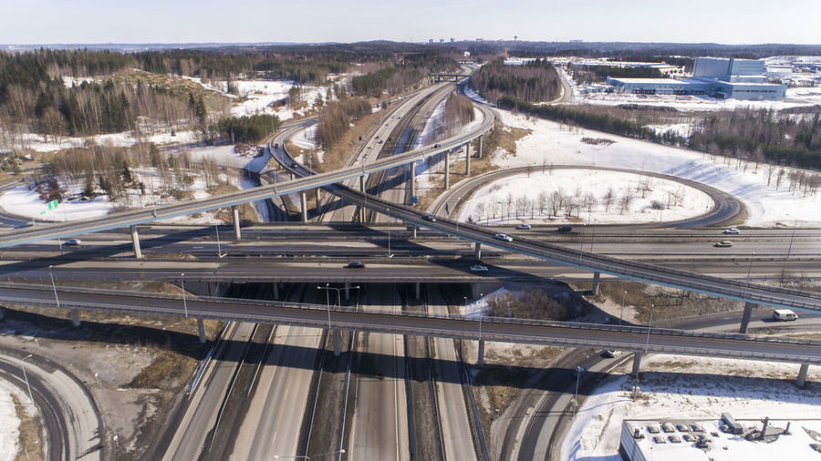High angle view of bridge over snow covered landscape
