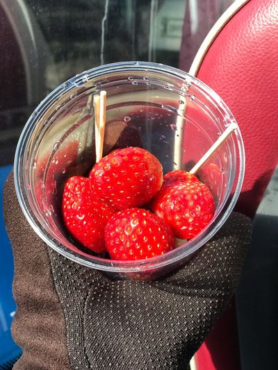 Close-up of strawberries in glass container